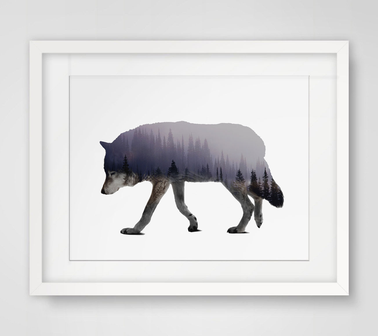 Wolf Art Print Fine Art Paper Wall Hanging Forest Animal
