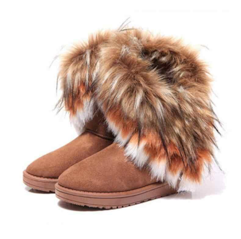 HUANQIU Kürk Çizmeler Kış Sıcak yarım çizmeler Kadınlar Için kar ayakkabıları Kadın Yuvarlak ayak Kayma Kadın Akın kar botu Bayan Ayakkabı wyq174