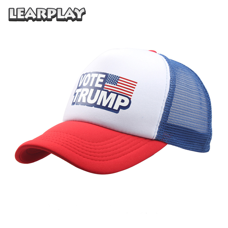 Donald Trump Mesh Baseball Caps Vote Trump American Flag Printed Hats Color Blocking Adjustable Snapback Men Women Cap Trump Hat