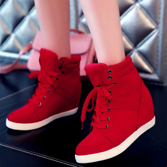 2018 Casual Shoes Women Height Increasing Platform Sneakers Wedges Shoes for Woman Lace-up High Top Genuine Suede Women Shoes