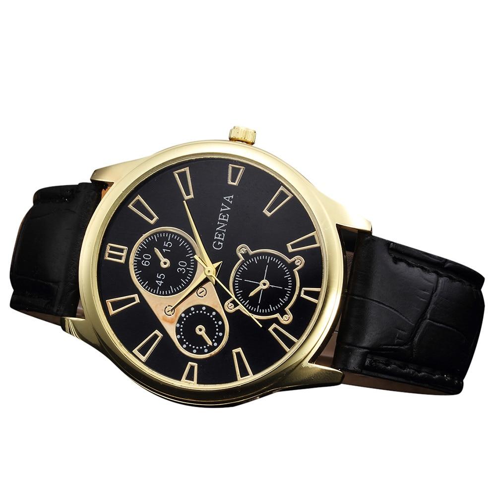 watches men luxury brand wristwatches fashionable Retro Design Leather Band Analog Alloy Quartz Wrist Watch J.19