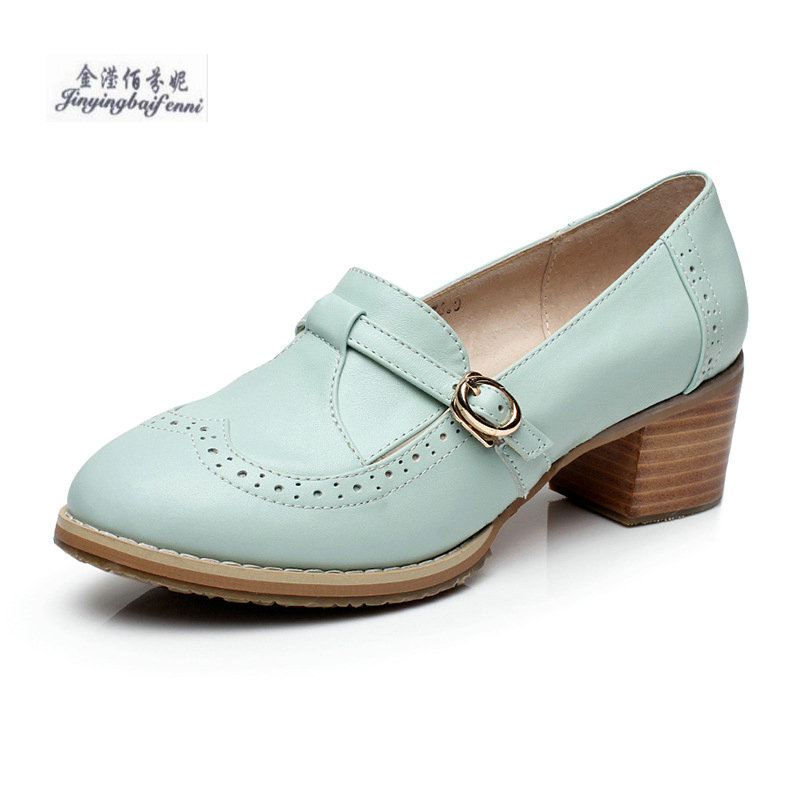 Spring Genuine Leather England Large Size Single Shoes Thick With Shallow Mouth Handmade Oxford Shoes Round