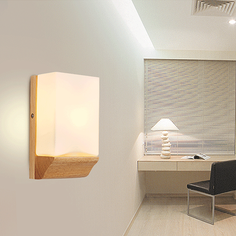 Nordic led sconce wall lights lamp wood+glass bedroom hallway stair home lighting fixtures modern led bedside lamp e27 110v-220v modern wall lamp adjustable arm bedside reading lamp e27 wood iron wall lighting bedroom lights high quality wwl014