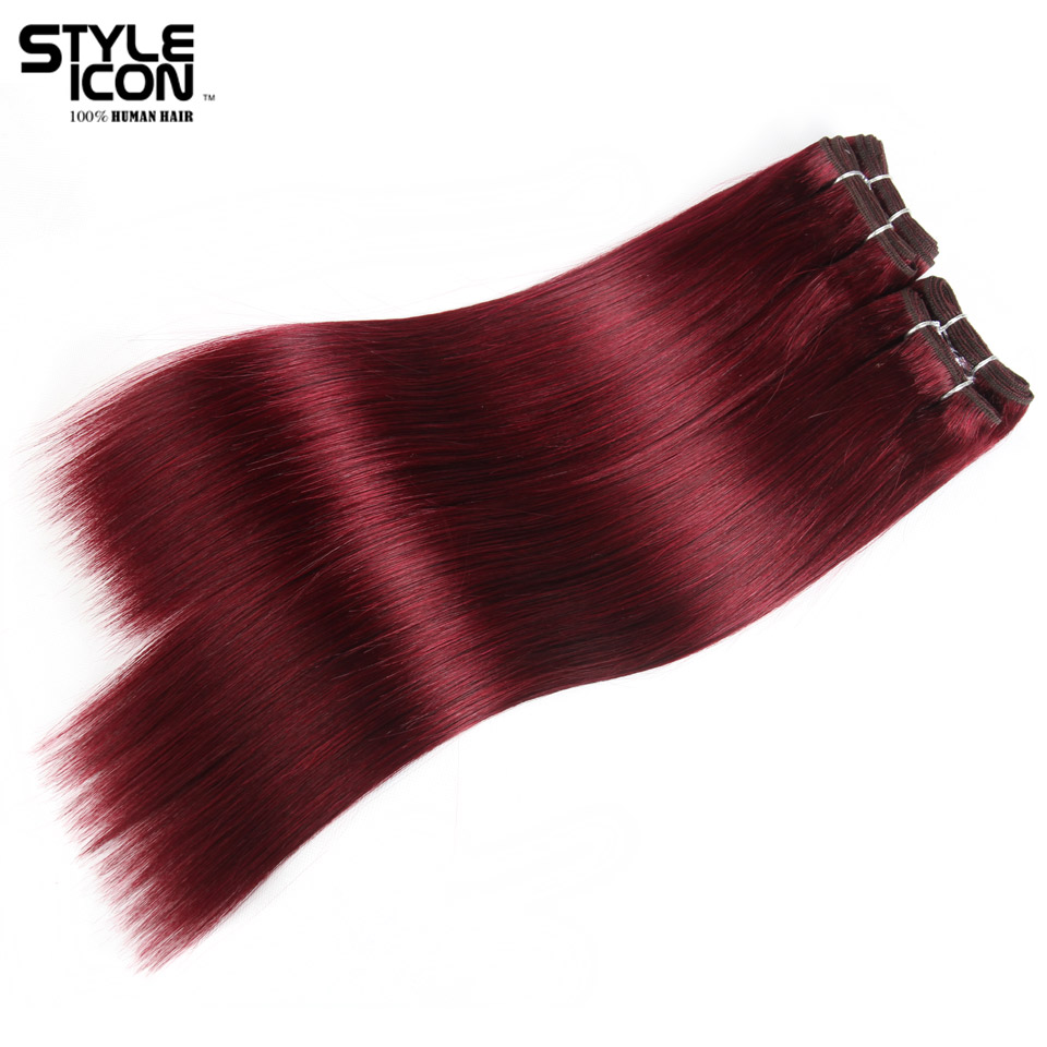 Styleicon Brazilian Yaki Straight Hair 4 Bundles Deal 190G 1 Pack Human Hair Weave Bundles Non Remy Color 99J Hair Extensions