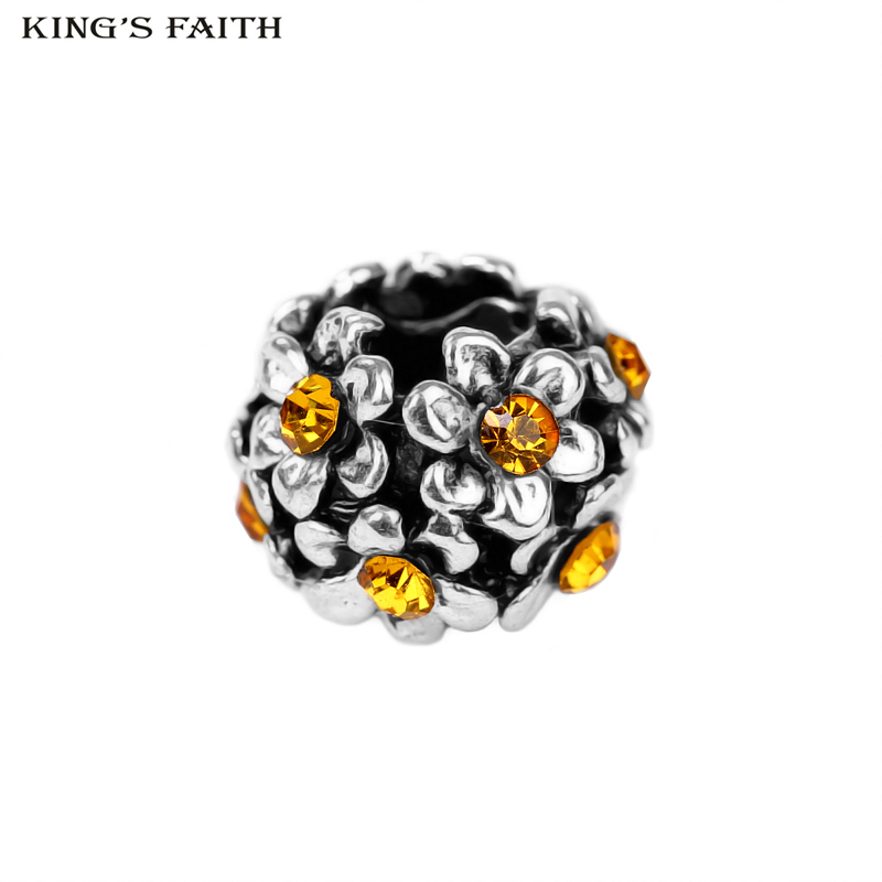 KINGS FAITH Silver Color Fashion Beautiful Shining Crystal Flower Beads Fit pandora Charms Bead Bracelets DIY Jewelry ,SPB093