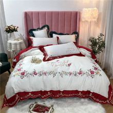 New Wine Red White Blue Luxury Pastoral Flowers Embroidery Egyptian Cotton Bedding Set Duvet Cover Bed sheet/Linen Pillowcases
