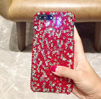 For Sony Xperia Z1 Z2 Z3 Z5 M4 M5 E5 C4 C5 L1 L2 Handmade Rhinestone Case Full Red Diamond Cover