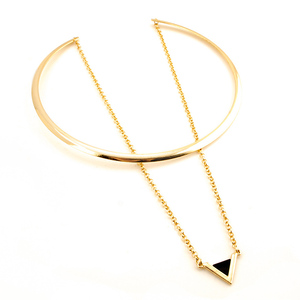 Double Layer Choker Necklaces for Women Gold Chokers Chain Triangle Pendants Colar Torques Big Necklace Jewelry 5L2007