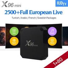 X96 mini 4K Smart Android 7,1 TV Box IPTV Európa arab 2500+ IUDTV IPTV előfizetési csatornák Francia Svédország X96min IPTV Top Box
