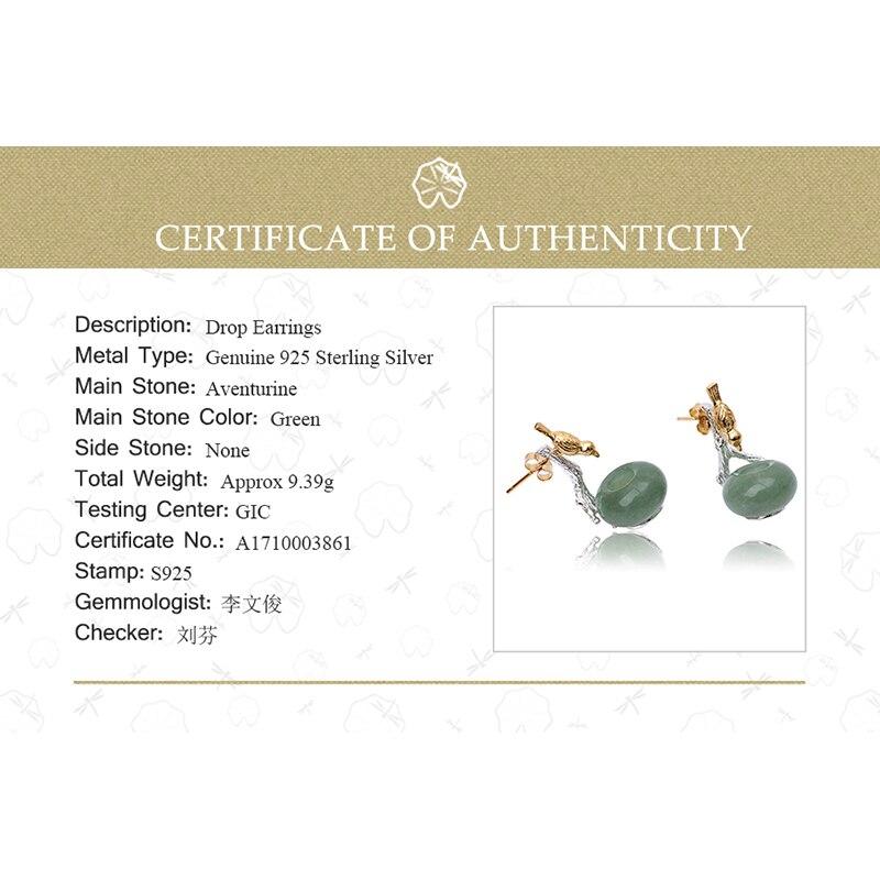 Lotus Fun 925 boucles d'oreilles en argent Sterling pour femmes pierre naturelle ronde verte Aventurine Animal oiseau fait main bijoux cadeaux - 6