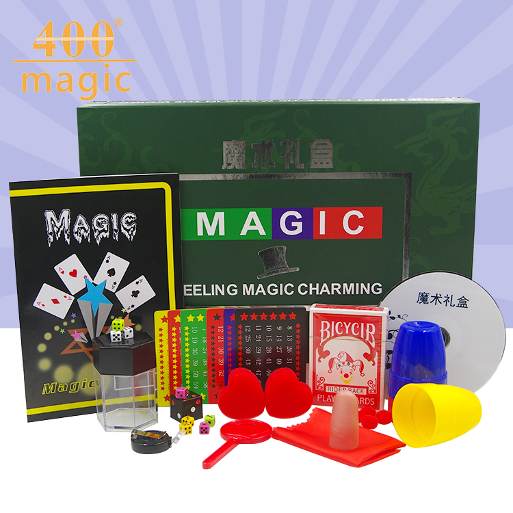 Hot selling Magic gift toys gift novelty toys set gift box  close up  stage magic 33.5*22.5*6cm  400magic trick light heavy box stage magic comdy floating table close up illusions fire magic accessories mentalism