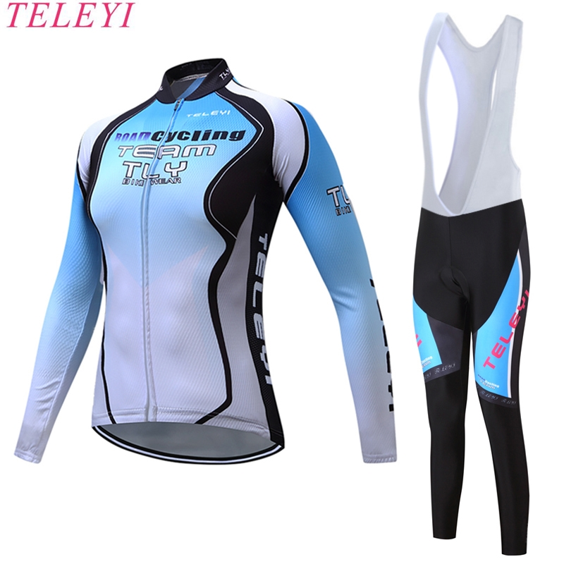 teleyi Long Sleeve Breathable Bike Women Cycling Jerseys Sets Riding Bike MTB Cycling Clothing + Full Pants with Gel Padded