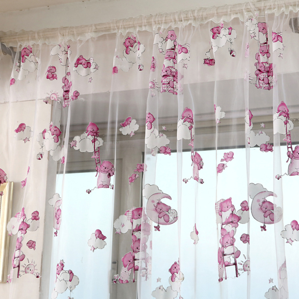 Cute window curtains - Aliexpress Com Buy Cute Little Bear Pink Voile Curtains Divider Window Curtain Drape Panel Sheer From Reliable Curtains Window Panels Suppliers On