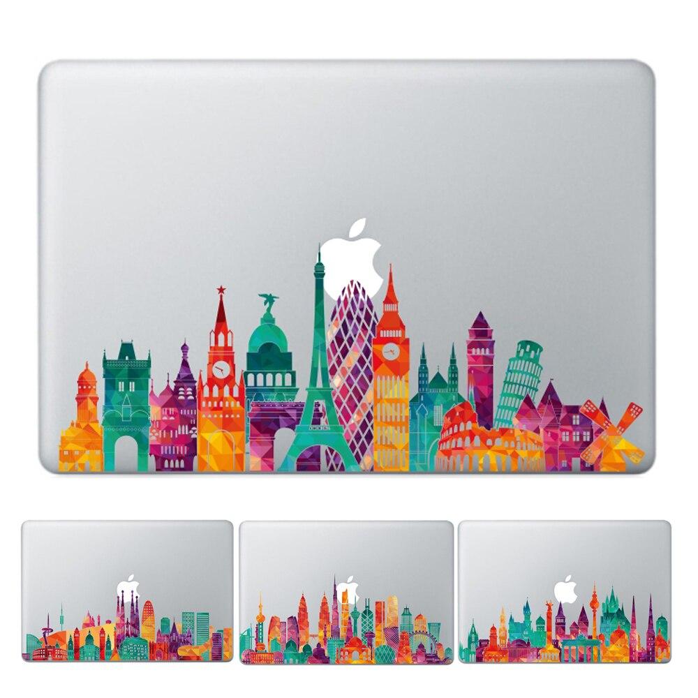 YCSTICKER-Ordinateur Portable Vinyle Partielle Decal bricolage Personnalité Ville Vue Historique Peau Pour MacBook Air Pro Retina 11 12 13 15 autocollant