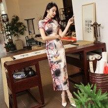 Imitation Silk Long Cheongsam Dress Sexy Chinese Traditional Short Sleeve Imprint Qipao Summer Vintage Dress M - XXXXL