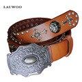 2016  Men Roman Steampunk cool rivet smooth buckle belts punk rock metals mosaic Cowhide leather strape belt Cinto Correia