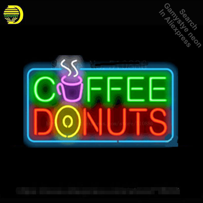 US $112 4 20% OFF|Custom Neon Sign For Coffee & Donuts Real Glass Tube  Display Light Lamp Decorative Bar Beer Club Decor Bulbs Neon Signs 19