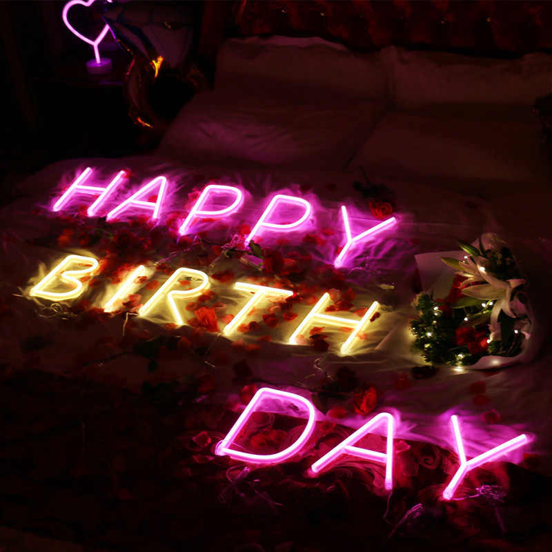 DIY Letters Numerals Led Neon Sign Light 3 Color Holiday