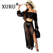 XURU Summer New Women's Sexy Fringe Dress Two-piece Casual Mesh Long Sleeve Beach Dress Set fringe mesh teddy