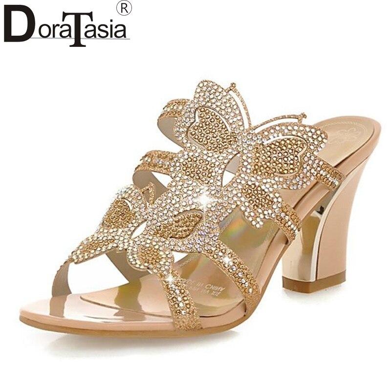 Große größe 34-43 Mode frau schuhe Strass Schmetterling Print High Heels Sommer Schuhe Ausschnitte Offene spitze Frauen sandalen