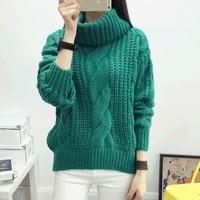 Autumn Winter New Thickening Twist Loose Turtleneck Women Knitting Sweater Khaki Gray Green Rose Red