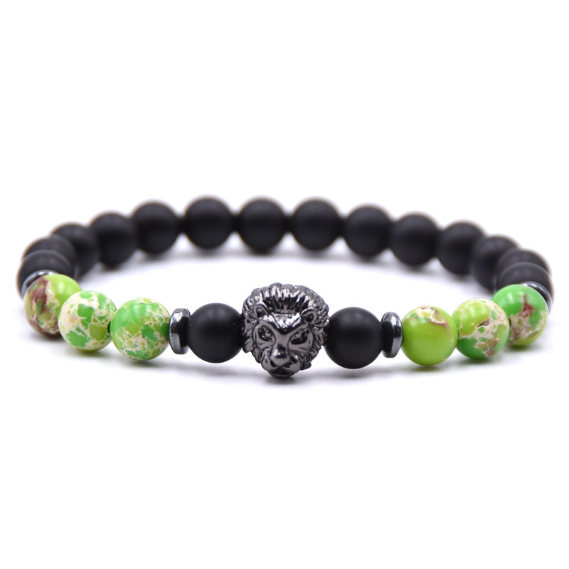 KANGKANG 2019 Summer 8mm Matte Black Stone and colorful Stone Bead bracelet Pave CZ Lion head Jewelry for Men Women in Strand Bracelets from Jewelry Accessories