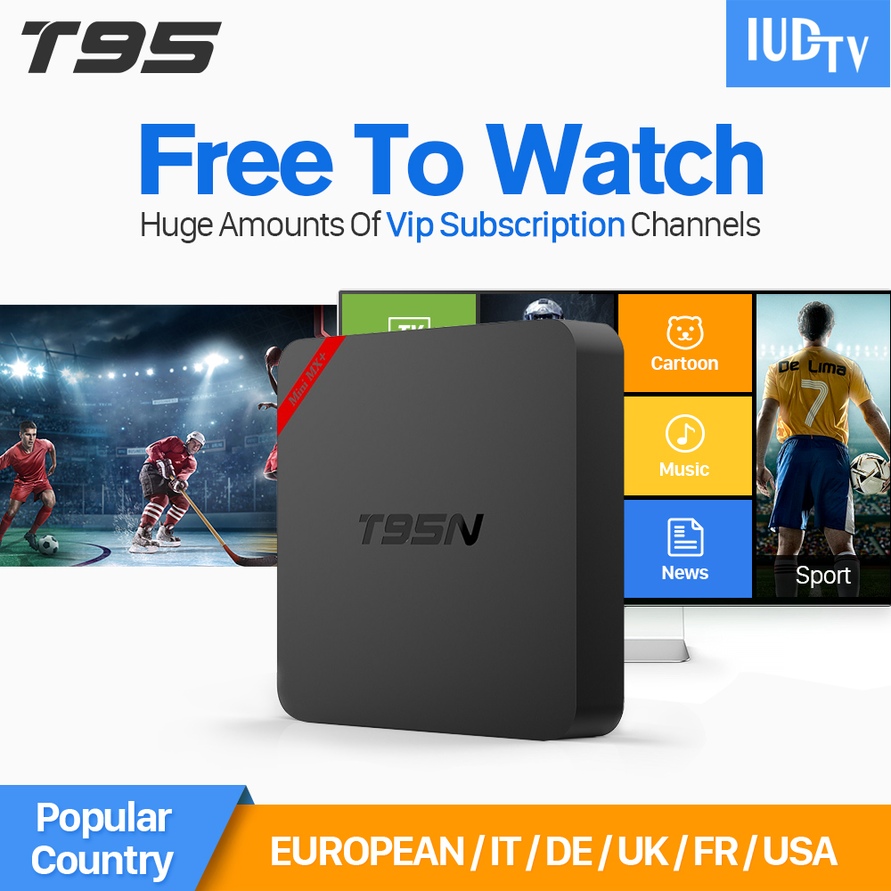 T95N Android TV Box Quad Core Amlogic S905X 4K Wifi IPTV Box with HD 1Year IPTV Europe Italy Arabic Russia UK Turkey Channels