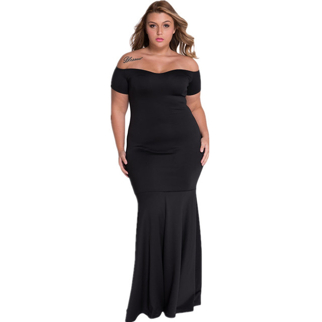 Cfanny 2016 Women Autumn Dress Plus Size Sexy Black Off Shoulder