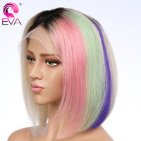Glueless короткие Full Lace натуральные волосы боб парики с волосами младенца предварительно сорвал розовый зеленый #613 блондинка парики, кружева б