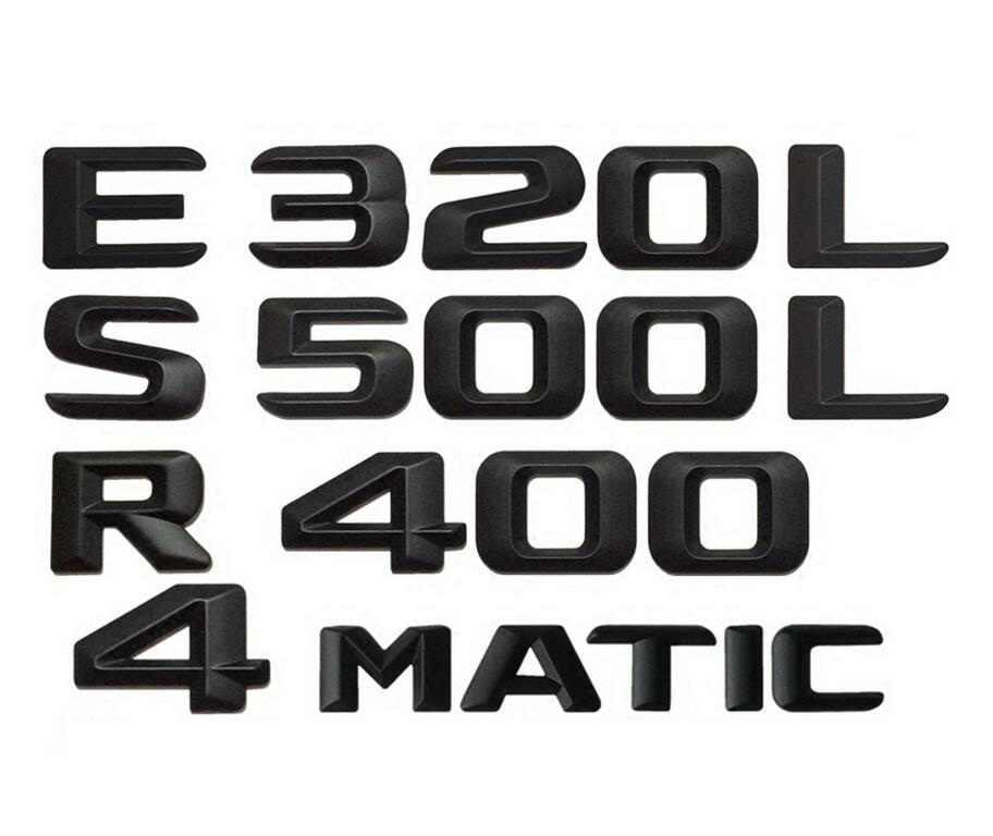 Matt Preto Tronco Traseiro Número Letras Emblema Emblema Emblemas Emblemas para Mercedes Benz AMG A B C E G S CL SL R Classe CLK ML GLE GLE