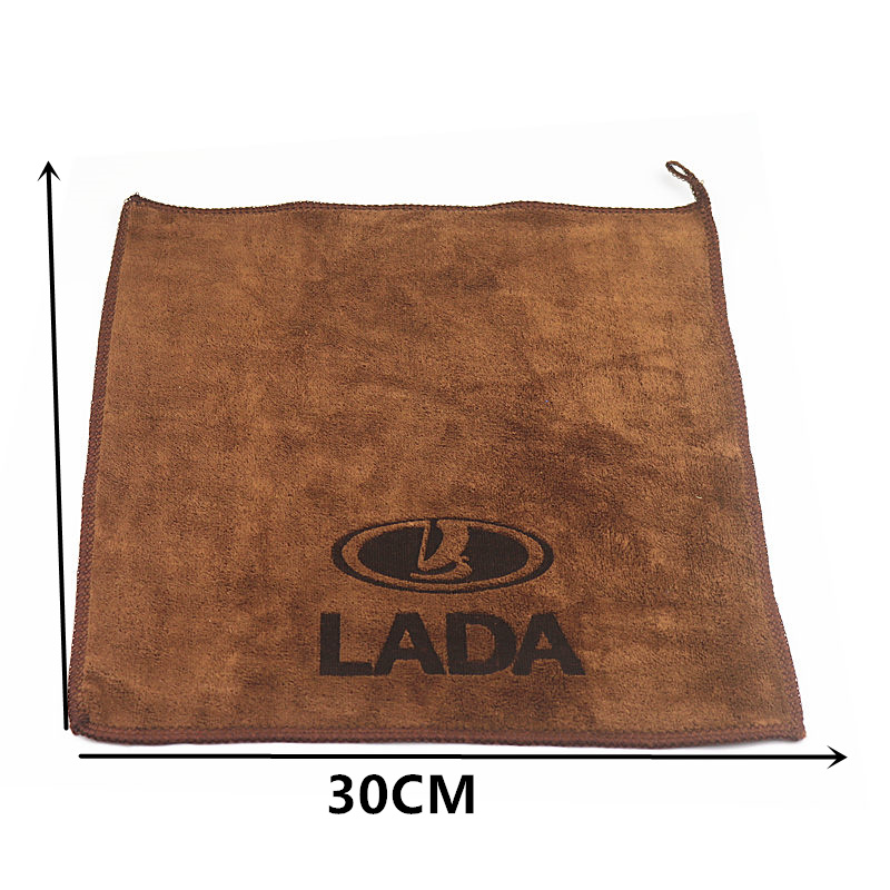 Image 2 - 30*30CM Car Sticker Logo Emblem Badge Wash Microfiber Towel Car Cleaning For Lada Renault Opel Dacia Saab Ssangyong Car Styling-in Car Stickers from Automobiles & Motorcycles