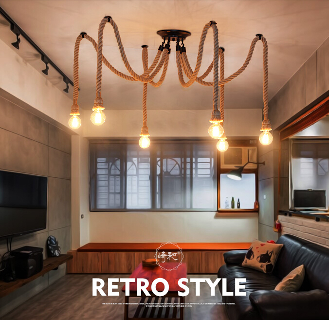 6 Heads American Village Retro Industrial Wind Rope Chandelier Creative Restaurant Bar Personality Decoration Lamp Free Shipping  simple retro industrial wind balcony restaurant bar counter metal net creative chandelier free shipping