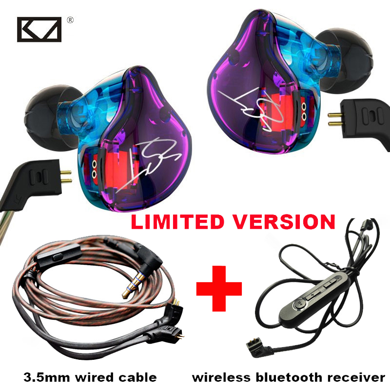 KZ ZST PRO Bluetooth Headphone Sets Colorful Wire 3.5mm Earphone with Mic Hybrid Dynamics Armature Bass Noise Cancelling Headset xiaomi hybrid piston hybrid pro dual driver earphone stereo headset circle iron noise cancelling for xiao mi samsung headphone