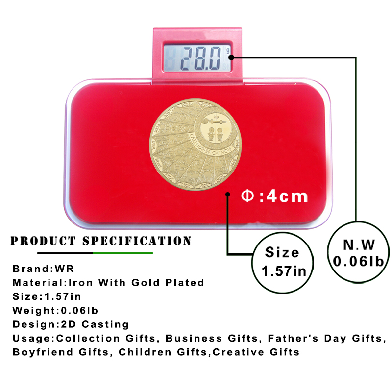 WR Chow Chow Gold Plated Commemorative Coin New Year Gift Year of the Dog Gold Coins Calendrier Chinois Metal Challenge Coin