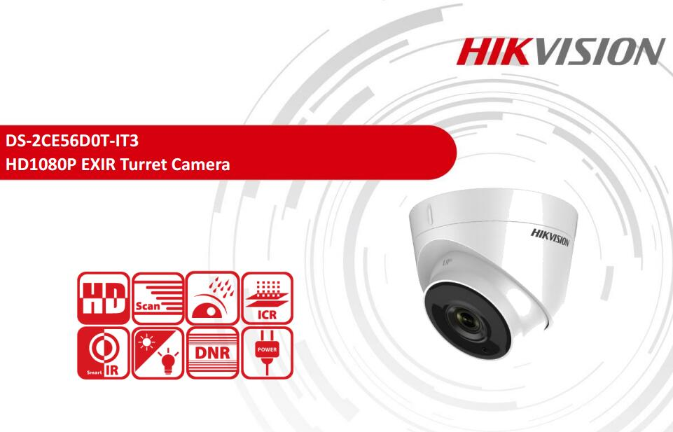 Free Shipping DS-2CE56D0T-IT3 2MP HD1080P EXIR Turret Camera IP66 Security Waterproof CCTV Camera hik ds 2ce56d1t it3 hd720p exir turret camera 2 megapixel cmos ip66 weatherproof turret camera with 40m ir home security camera