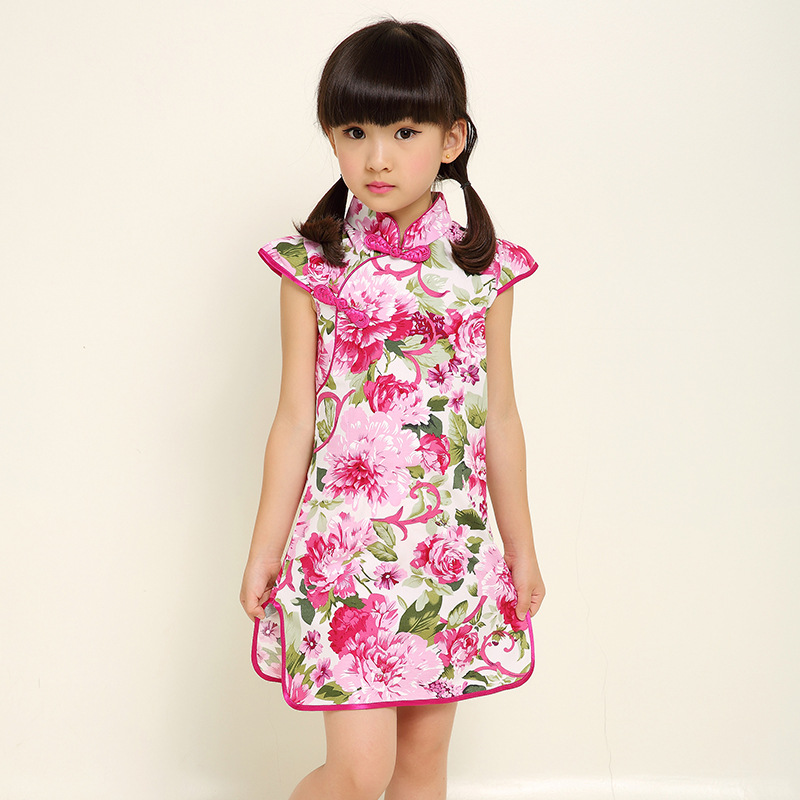 New Hot Sale 2017 Children's Clothing Girls Floral Print Dress Costume Fashion Vintage Cheongsam Clothing Kids Dresses 110-160cm vintage floral print mini shift dress