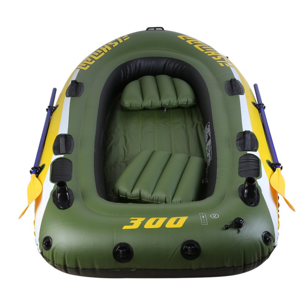 Portbale Rubber Boat Kit PVC Inflatable Fishing Drifting Rescue Raft Boat Life Jacket Two Ways Electric Pump Air Pump Paddles