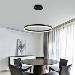 Image 4 - مصباح إضاءة حديث أسود أبيض اللون لغرفة المعيشة وغرفة الطعام 3/2/1 حلقات دائرية بإضاءة ليد مصباح سقف تركيبات