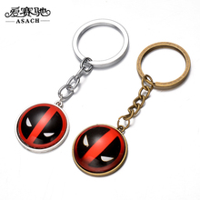 ASACH Brand Film Deadpool Pattern Keychain Keyring For Men Boy Vintage DC Marvel Anime Jewelry Alloy Round Pendant Key Chains