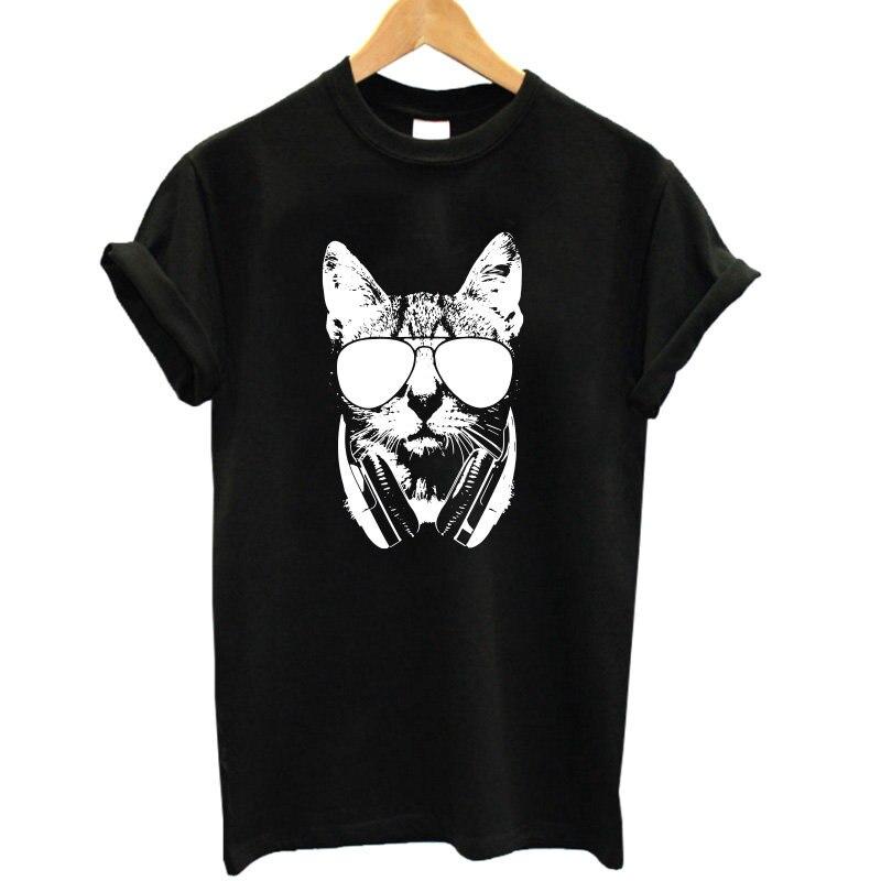 COOLMIND CA0211B Summer 100% cotton Animal 3D DJ Cat Print Shirt O-Neck Short Sleeve T Shirt Women Best Friend Girls T-shirt