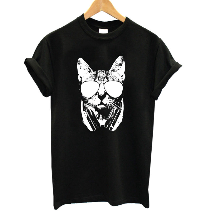 COOLMIND CA0211B Summer 100% cotton Animal 3D DJ Cat Print   Shirt   O-Neck Short Sleeve   T     Shirt   Women Best Friend Girls   T  -  shirt