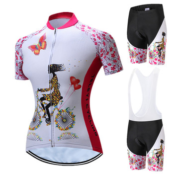 Teleyi Summer Cycling Jersey Set Women Pink Pro Team Cycling Clothing Breathable Bicycle Clothes Quick Dry MTB Bike Jersey kits santic triathlon cycling jersey men 2018 pro team quick dry bike jersey cycling clothing swimming running bicycle skinsuit wear