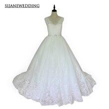 SIJANE Wedding Dresses V neck Diamond Decoration Daist Real Pictures Wedding dress08