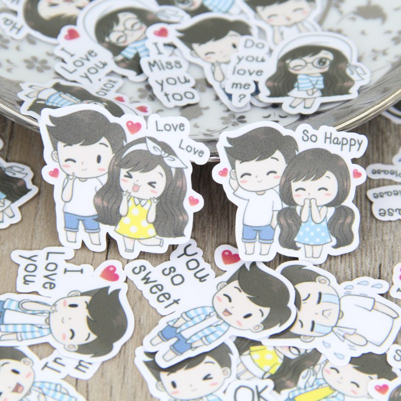 40 cartoon couple boy girl homemade sticker style waterproof snowboard luggage laptop motorcycle tv doodle sticker accessories