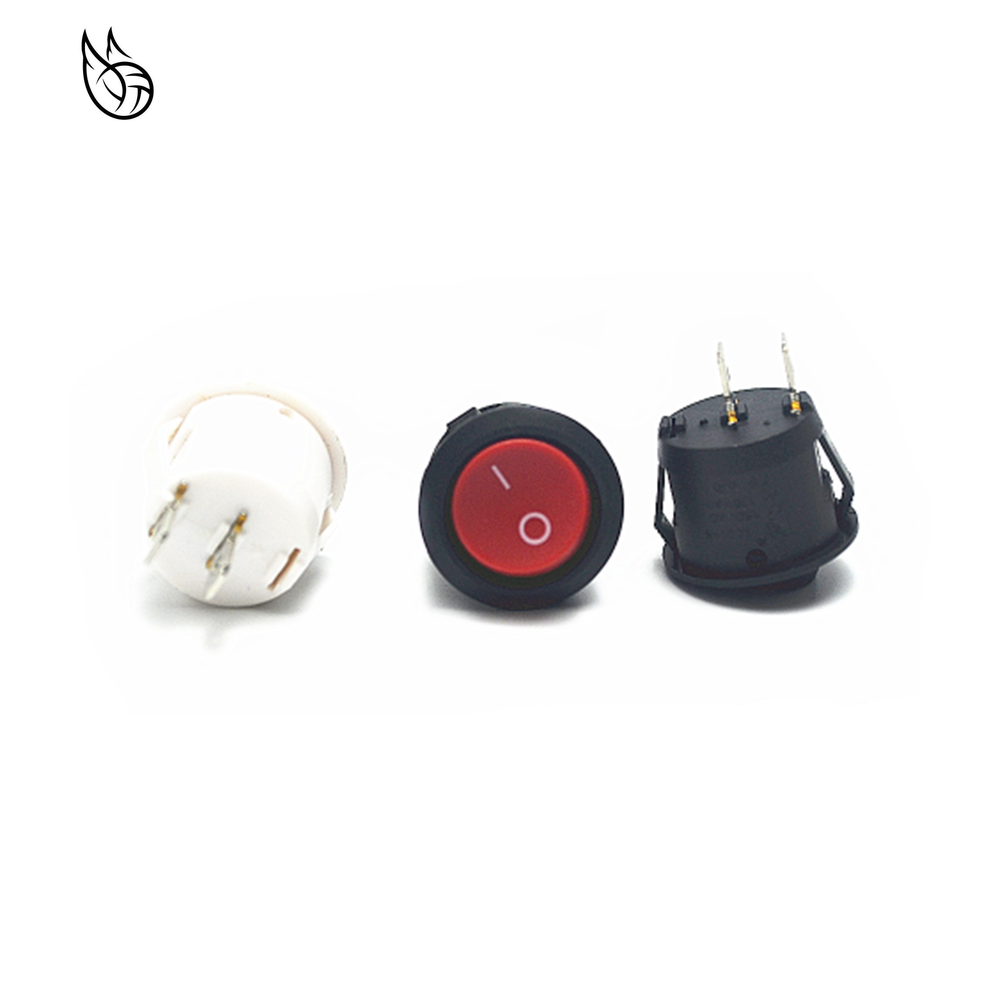 Rojo Negro Blanco encendido/apagado interruptor basculante redondo 6A/250VAC 10A 125VAC interruptor de botón de plástico