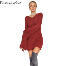 Фотография RichKoKo 2017 V-Neck Belt Lace Up Flare Sleeve Sexy Sweaters Dress Women  Pullovers Female Casual  Sweaters Dress For Lady