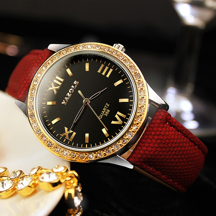 YAZOLE Golden Diamond Gold Watch Women Ladies Famous Brand Luxury Quartz Watch Wrist Female Clock Montre Femme Relogio Feminino yazole men watch man 2016 brand famous male clock wholesale quartz watch wrist quartz watch montre femme relogio feminino d03