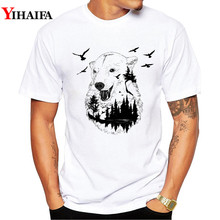 T-Shirt Men Stylish 3D Print Wolf Forest Bird Graphic Tees Casual T Shirts White Tee  Crew Neck Animal Summer Tops white crew neck french fries print tee