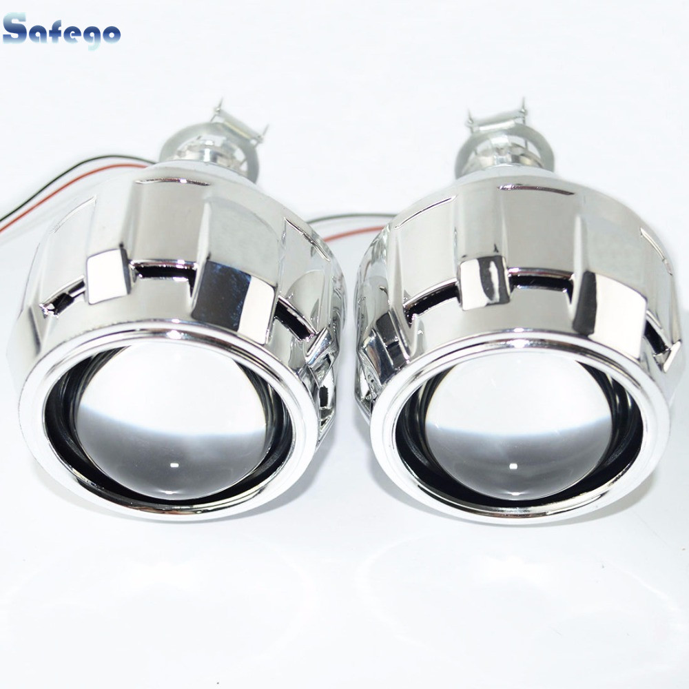Safego 2pcs bi lens with Shroud 2 5inch projector lens for H4 H7 bi lens H1