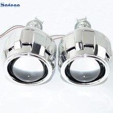 Safego 2pcs bi lens with Shroud 2.5inch  projector lens for H4 H7  bi lens H1,H11,9005,9006 car hid headlight